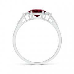 Toggle Horizontally Set Oval Garnet Solitaire Ring with Trio Diamond Accents