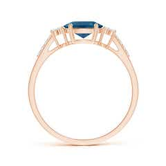 Toggle Horizontally Set Oval London Blue Topaz Ring with Diamonds