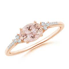 Horizontally Set Oval Morganite Solitaire Ring with Trio Diamond Accents
