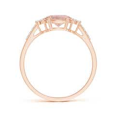 Toggle Horizontally Set Oval Morganite Solitaire Ring with Trio Diamond Accents