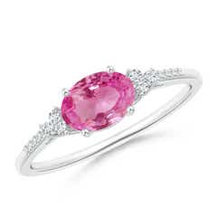 Horizontally Set Oval Pink Sapphire Solitaire Ring with Trio Diamond Accents