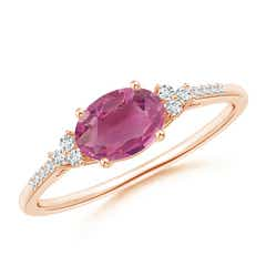 Horizontally Set Oval Pink Tourmaline Solitaire Ring with Trio Diamond Accents