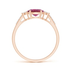 Toggle Horizontally Set Oval Pink Tourmaline Solitaire Ring with Trio Diamond Accents