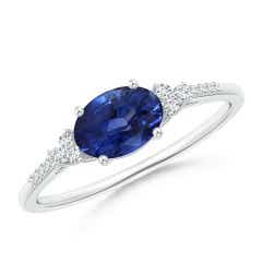 Sapphire Solitaire Ring with Diamonds (GIA Certified Sapphire)