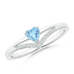 Solitaire Heart Aquamarine and Diamond Chevron Ring