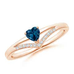 Solitaire Heart London Blue Topaz and Diamond Chevron Ring