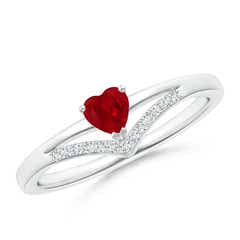 Solitaire Heart Ruby and Diamond Chevron Ring