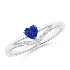 Solitaire Heart Sapphire and Diamond Chevron Ring