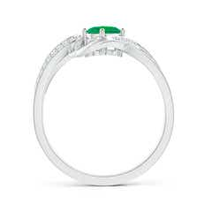 Toggle Solitaire Oval Emerald Twisted Ribbon Ring with Pave Diamond Accents