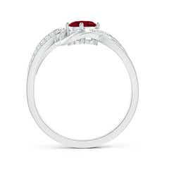 Toggle Solitaire Oval Garnet Twisted Ribbon Ring with Pave Diamond Accents
