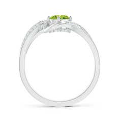 Toggle Solitaire Oval Peridot Twisted Ribbon Ring with Pave Diamond Accents