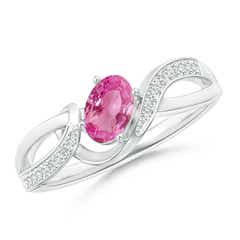 Solitaire Oval Pink Sapphire Twisted Ribbon Ring with Pave Diamond Accents