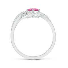 Toggle Solitaire Oval Pink Sapphire Twisted Ribbon Ring with Pave Diamond Accents