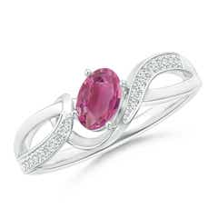 Solitaire Oval Pink Tourmaline Twisted Ribbon Ring with Pave Diamond Accents