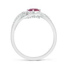 Toggle Solitaire Oval Pink Tourmaline Twisted Ribbon Ring with Pave Diamond Accents
