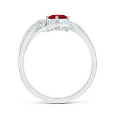 Toggle Solitaire Oval Ruby Twisted Ribbon Ring with Pave Diamond Accents