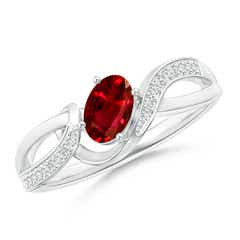 Solitaire Oval Ruby Twisted Ribbon Ring with Pave Diamond Accents