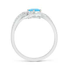 Toggle Tilted Oval Swiss Blue Topaz Ribbon Shank Ring with Diamonds