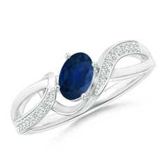 Solitaire Oval Sapphire Twisted Ribbon Ring with Pave Diamond Accents
