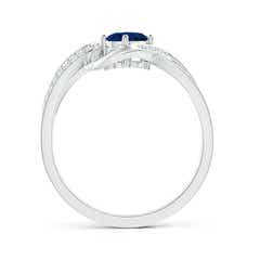 Toggle Solitaire Oval Sapphire Twisted Ribbon Ring with Pave Diamond Accents