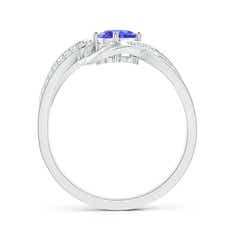 Toggle Solitaire Oval Tanzanite Twisted Ribbon Ring with Pave Diamond Accents