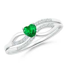 Solitaire Emerald Heart Promise Ring with Diamond Accents