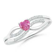 Solitaire Pink Sapphire Heart Promise Ring with Diamond Accents