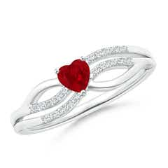 Solitaire Ruby Heart Promise Ring with Diamond Accents