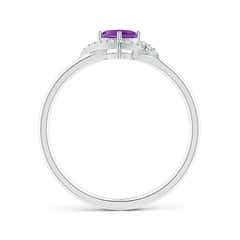 Toggle Cushion Amethyst and Diamond Halo Promise Ring