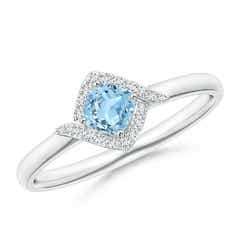 Cushion Aquamarine and Diamond Halo Promise Ring