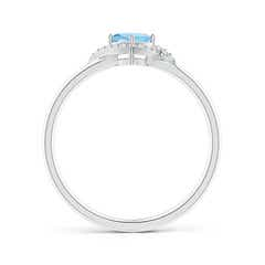 Toggle Cushion Aquamarine and Diamond Halo Promise Ring