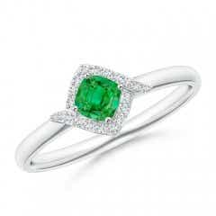 Cushion Emerald and Diamond Halo Promise Ring
