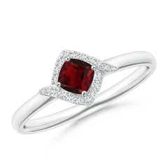 Cushion Garnet and Diamond Halo Promise Ring