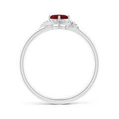Toggle Cushion Garnet and Diamond Halo Promise Ring