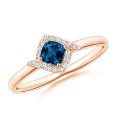 Cushion London Blue Topaz and Diamond Halo Promise Ring