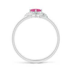 Toggle Cushion Pink Sapphire and Diamond Halo Promise Ring