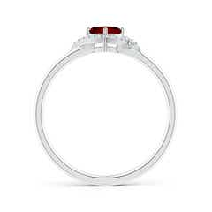 Toggle Cushion Ruby and Diamond Halo Promise Ring
