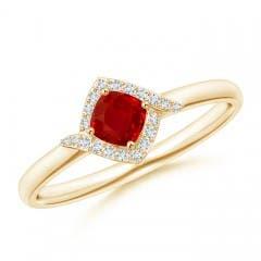Angara GIA Certified Cushion Ruby Ring with Diamond Double Row 45GaqS5X4