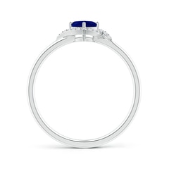 Toggle Cushion Blue Sapphire and Diamond Halo Promise Ring