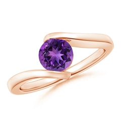 Bar-Set Solitaire Round Amethyst Bypass Ring