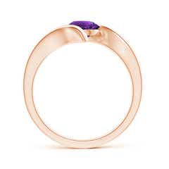Toggle Bar-Set Solitaire Round Amethyst Bypass Ring