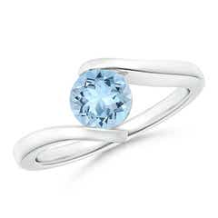 Bar-Set Solitaire Round Aquamarine Bypass Ring