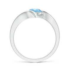 Toggle Bar-Set Solitaire Round Aquamarine Bypass Ring