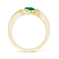Toggle Bar-Set Solitaire Round Emerald Bypass Ring