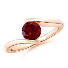 Bar-Set Solitaire Round Garnet Bypass Ring
