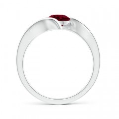 Toggle Bar-Set Solitaire Round Garnet Bypass Ring