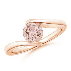 Bar-Set Solitaire Round Morganite Bypass Ring