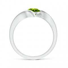 Toggle Bar-Set Solitaire Round Peridot Bypass Ring