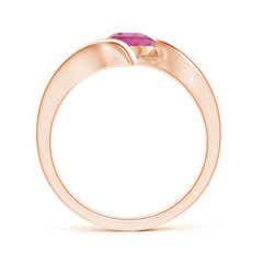 Toggle Bar-Set Solitaire Round Pink Tourmaline Bypass Ring