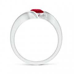 Toggle Bar-Set Solitaire Round Ruby Bypass Ring